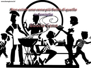disegno di una famiglia che sta mangiando